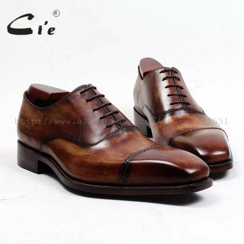 Cie envío gratis a medida hecho a mano zapatos Oxford Oficina/carrera pintado a mano encaje-up cuadrado Captoe completo cuero de grano OX498
