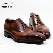 cie Free Shipping Bespoke Handmade Mens Oxford Shoe Office/ Career Hand Painted Lace up Square Captoe Full Grain Leather OX498