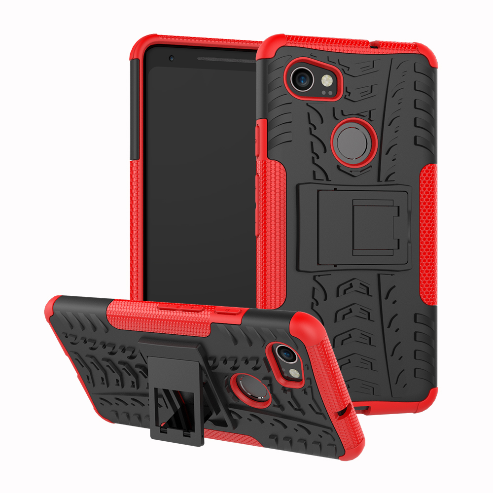 2 In 1 Heavy Duty Strong Rugged Armor Tire Style Hybrid TPU PC Hard Stand Bracket Case For Google Pixel 2 XL