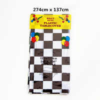 274*137CM Big Size Kids Favors Black and white square lattice Design Birthday Party Tablecloth Decoration Table Cover 1pcs/pack