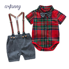 baby boys clothes set Toddler Boys Set Summer Baby Suit Shorts Triangle shirt Children  Kid Red plaid bow tie Clothing