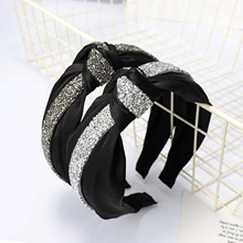 New Fashion Rhinestone Hairband Women Turban Cross Knot Headband Wholesale Shining Hair Hoop Adult Accessories
