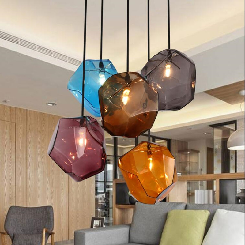 Simple Stone glass pendant light colorful indoor G4 LED lamp The restaurant dining room bar cafe shop lighting Fixture AC110-265Simple Stone glass pendant light colorful indoor G4 LED lamp The restaurant dining room bar cafe shop lighting Fixture AC110-265