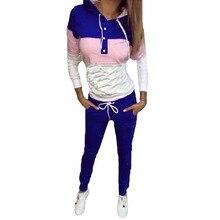 Мода 2017 г. Для женщин спортивные Костюмы осень-зима Для женщин толстовки с длинными рукавами с принтом Костюмы Для женщин спортивные костюмы комплект из двух предметов