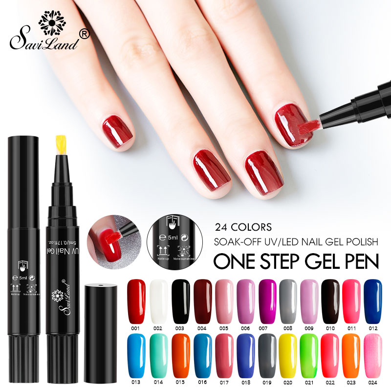 ef8f1a9e9 Saviland 3 In 1 Step Nail Gel Painting Varnish Pen One Step Nail Gel Polish  Easy To Use UV Gel Lacquer No Need Base Top Coat