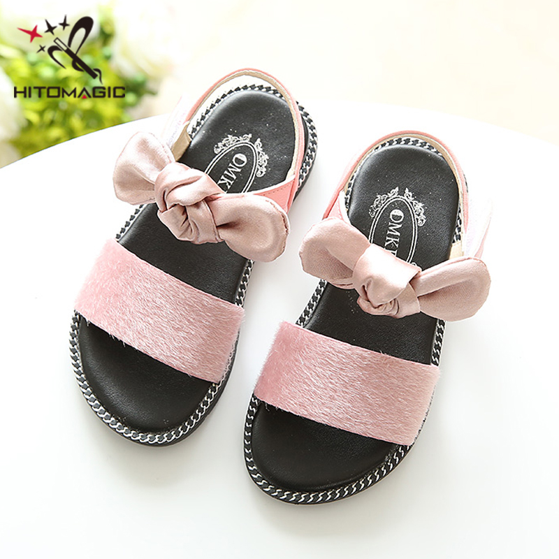 HITOMAGIC 2018 Girls Sandals Summer Kids Children Beach Shoes For Girls  Fashion Child Princess Baby Girl Sandals Bowtie Pink -in Sandals from Mother    Kids ... 4143e487ce50