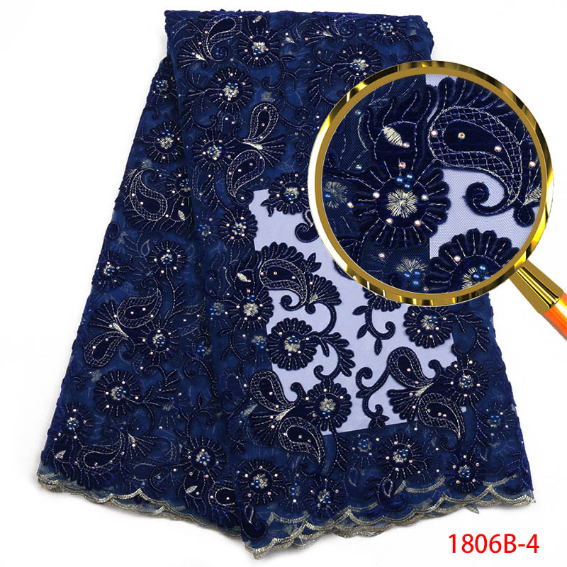 Blue African Lace Fabric High Quality velvet fabric Lace fabric mesh embroidered with diamond Nigerian dress
