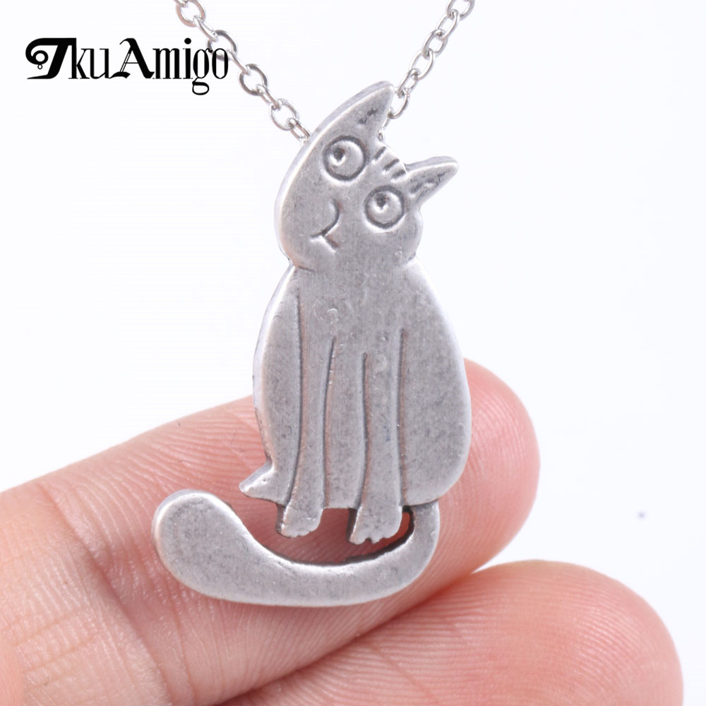 Statement Cat Necklace Cute Pet Memorial Pendant Animal Jewelry for Girls Cat Rescue Gift A165 19*30mm ...