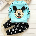 2016 new baby boys and girls autumn and winter clothes for the baby cute cartoon printed cotton shirt + trousers cotton clothing