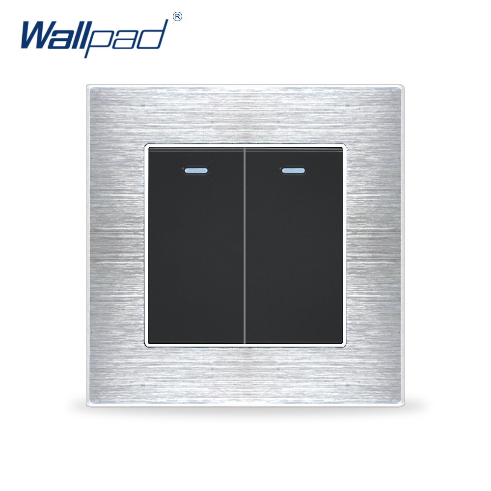 New Arrival 2 Gang 1 Way Wallpad Luxury Wall Light Switch Satin Metal Panel Push Button Switches Interrupteur