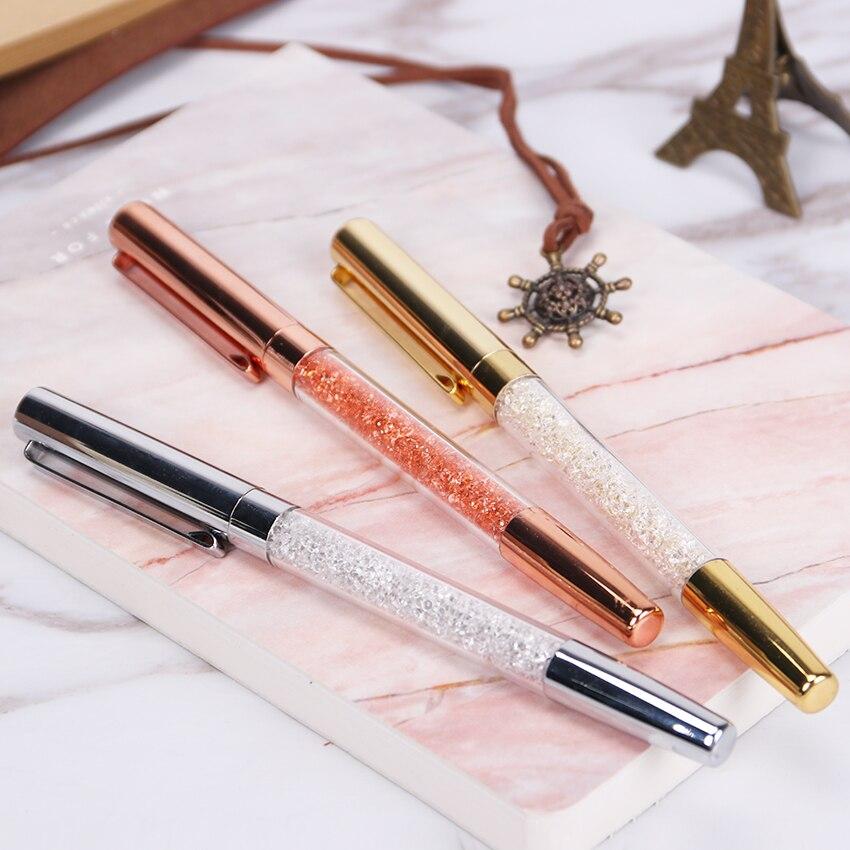 Bolígrafo de punta de bola de escritura de firma de cristal de alta calidad diamante oro plata Oficina papelería regalo bolígrafo