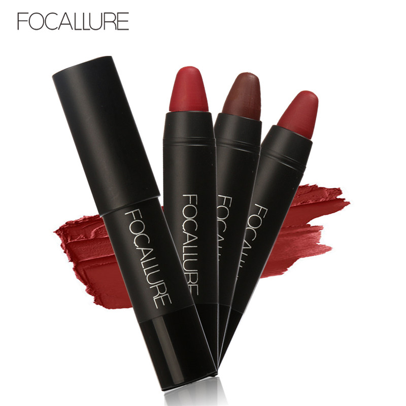 3Pcs/lot FOCALLURE Brand Long-Lasting Matte Waterproof Red lipstick Set Nude Pigment Dark Color Soft Pencil Lipstick Lips Makeup