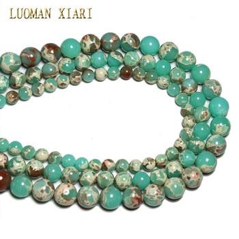 224e4c843f33 Al por mayor serpiente verde Piedra Natural perlas redondas para hacer  joyería 6 8