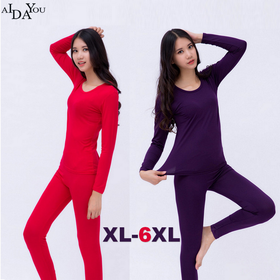 2019 Long Johns Plus Size 6xl Winter Autumn Women's Modal Underwear 5XL Set Female Good Elasticity Soft Sleep Cloth Ouc1745