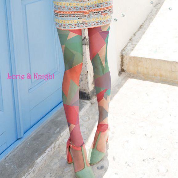 Primavera y Otoño Medias Medias de Colores Triángulo de la Moda Estadounidense Europa Patterned Pantyhose Apretado