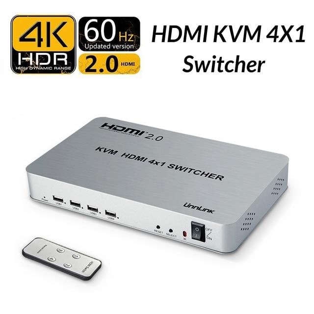 Unnlink HDMI 2.0 4X1 KVM Switch 4 Port USB KVM HDCP 2.2 HDR HDMI Switcher  UHD da28429574112
