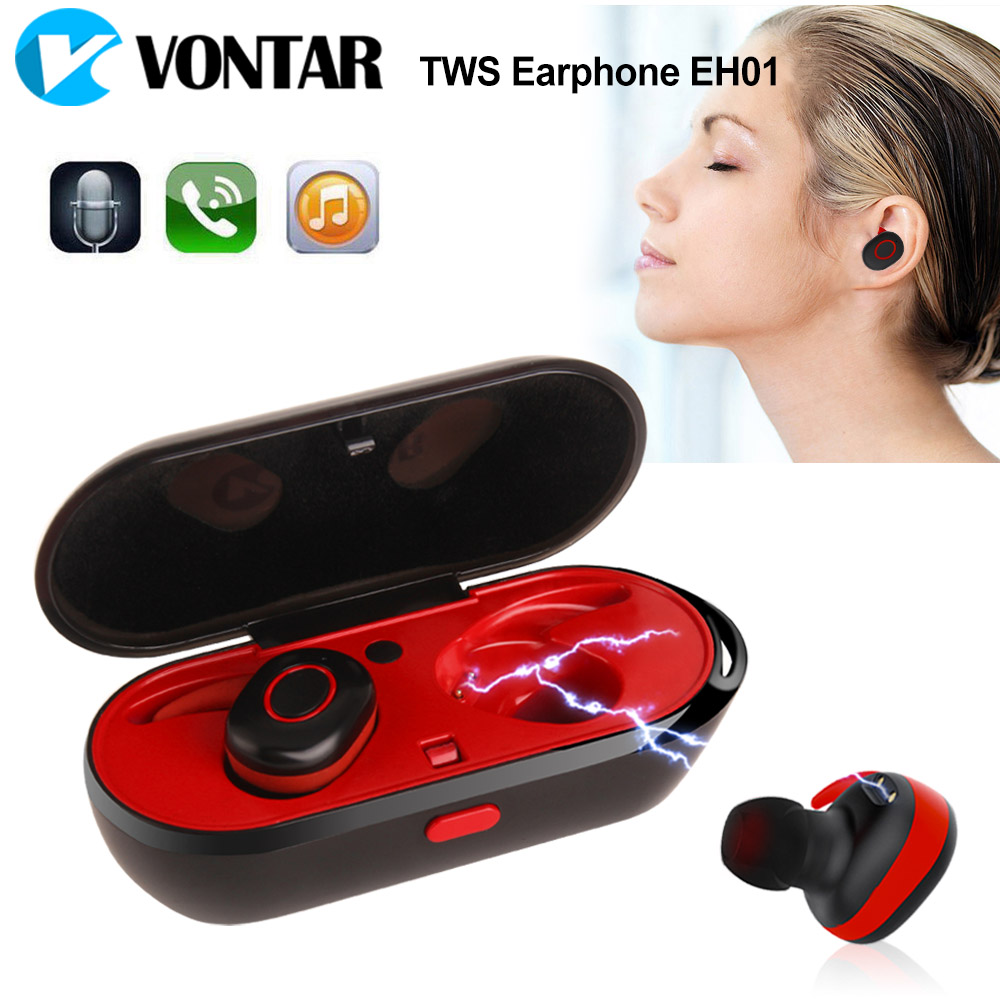 Mini TWS Earbuds True wireless Bluetooth Earphone with microphone charging box Waterproof Bluetooth Headset for Phone 2018 new mini tws wireless bluetooth5 0 ipx5 waterproof and sweat proof sports earphone with led charger box for mobile phone