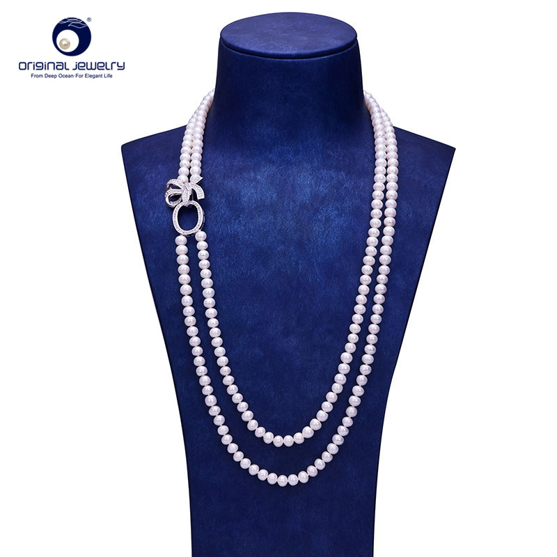 YS 6-7mm White Cultured Freshwater Pearl 65cm Long Sweater Chain Necklace For Women Wedding Fine Jewelry цена и фото