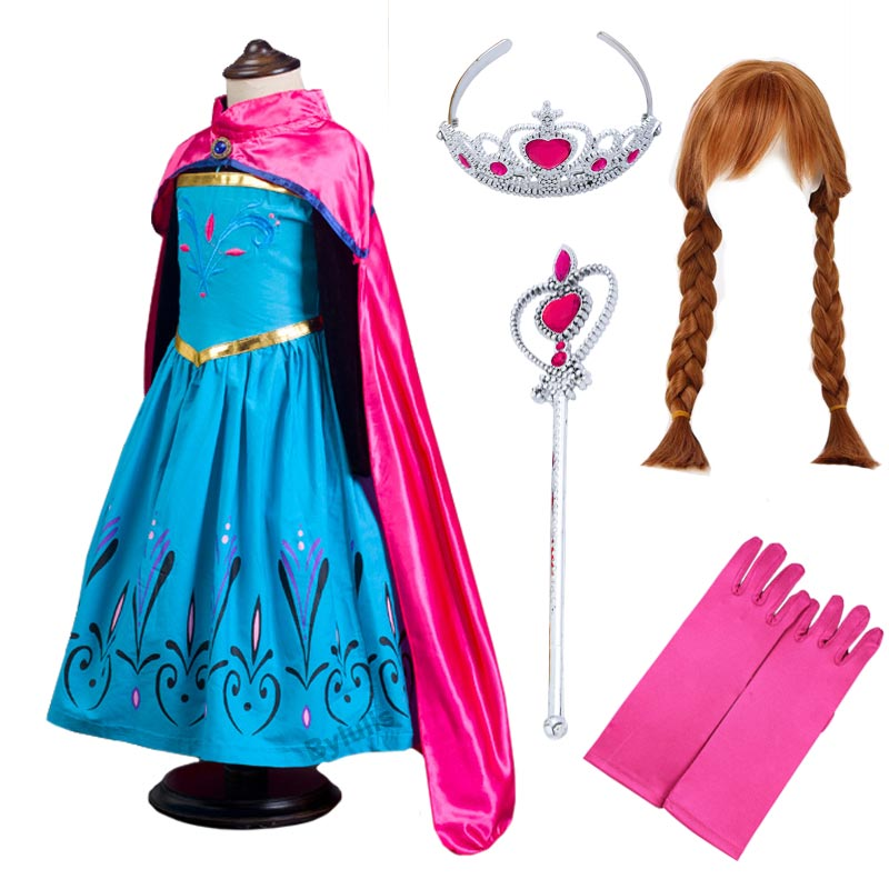 Anime Snow Queen Anna Cosplay Costume with Hair Wig Crown Wand Glove Accessories Children Girls Princess Anna Elsa Dress Clothes