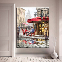 Painting By Numbers Wall Craft DIY Kits Drawing Canvas Couple Sit Chatting In Front Of Street Shops Oil Pictures Home Decor
