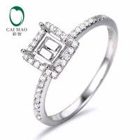 Caimao 3 5mm Princess Cut Semi Mount Setting Ring 14K White Gold Natural 0 19ct Diamond