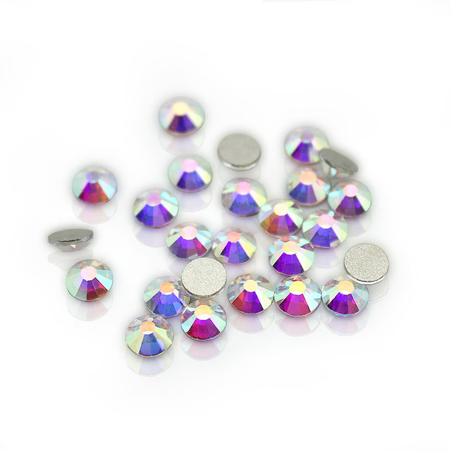 Wholesale SS3-SS40 1440-14400PCS/PACKS Crystal AB 3D Nail Art Decoration rhinestones glue on flatback Clothing rhinestone 1