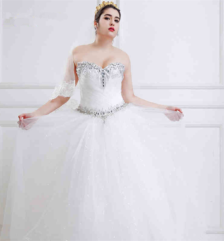 Full figure plus size wedding dresses with beads crystal for Big tulle ball gown wedding dress