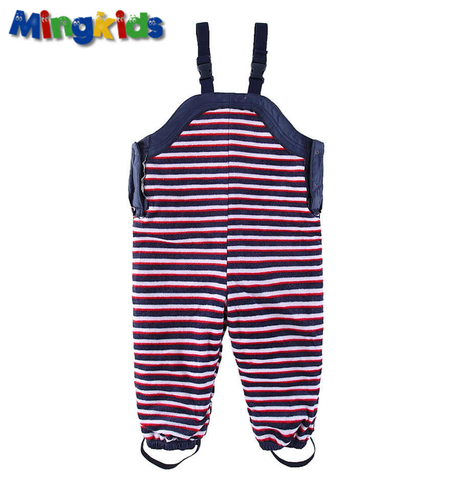 ใหม่ส่งออกยุโรป Mingkids Boy กันน้ำ overalls หนาขนแกะฤดูใบไม้ผลิซับกางเกง PU กลางแจ้ง windproof