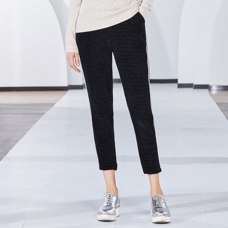 De A Nuevo Pantalones Rayas S Primavera Causal Tobillo Mujeres Longitud La xl Mujer Y Mosaico Las Blanco Chenilla Negro Slim 2019 SxdYqd4w