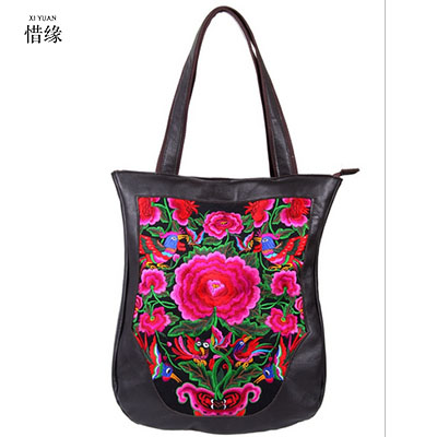 Chinese National Style Embroidery Bags Women Fashion Handbags Casual Embroidered Shoulder Bag cow leather Travel Shopping Bag