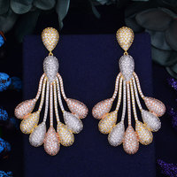 GODKI Luxury Peacock Tail Flower Trendy Cubic Zirconia 3 Tone Metal Color Wedding Party Drop Earring