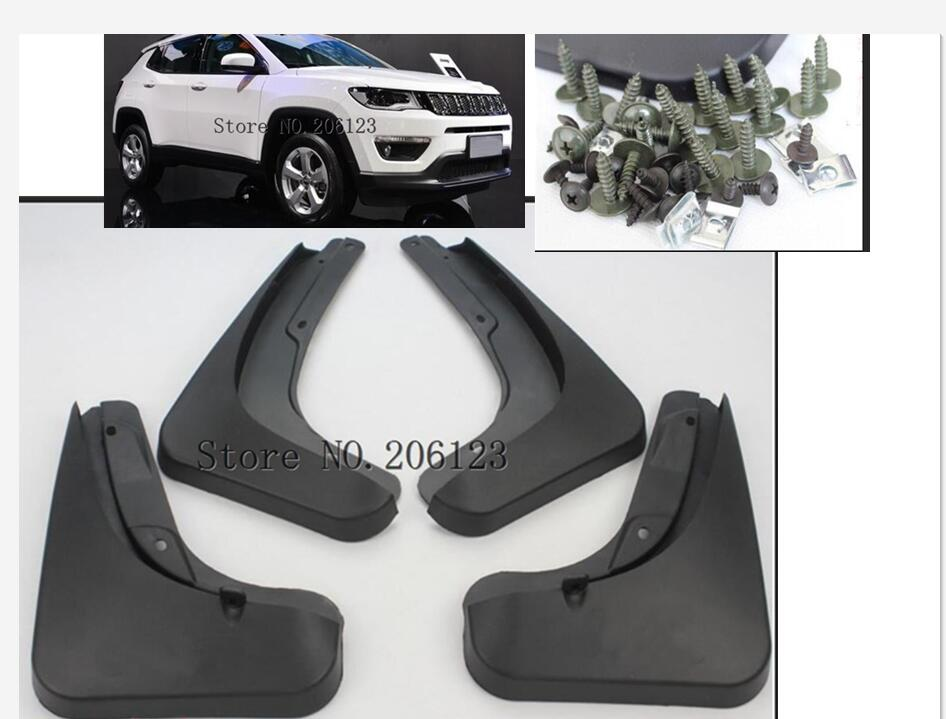 Car Styling for <font><b>jeep</b></font> <font><b>compass</b></font> 1.4 2017 <font><b>2018</b></font> <font><b>Accessories</b></font> Mud Flaps Splash Guards Front Rear Mud Flap Mudguards Fender Black 4pcs image