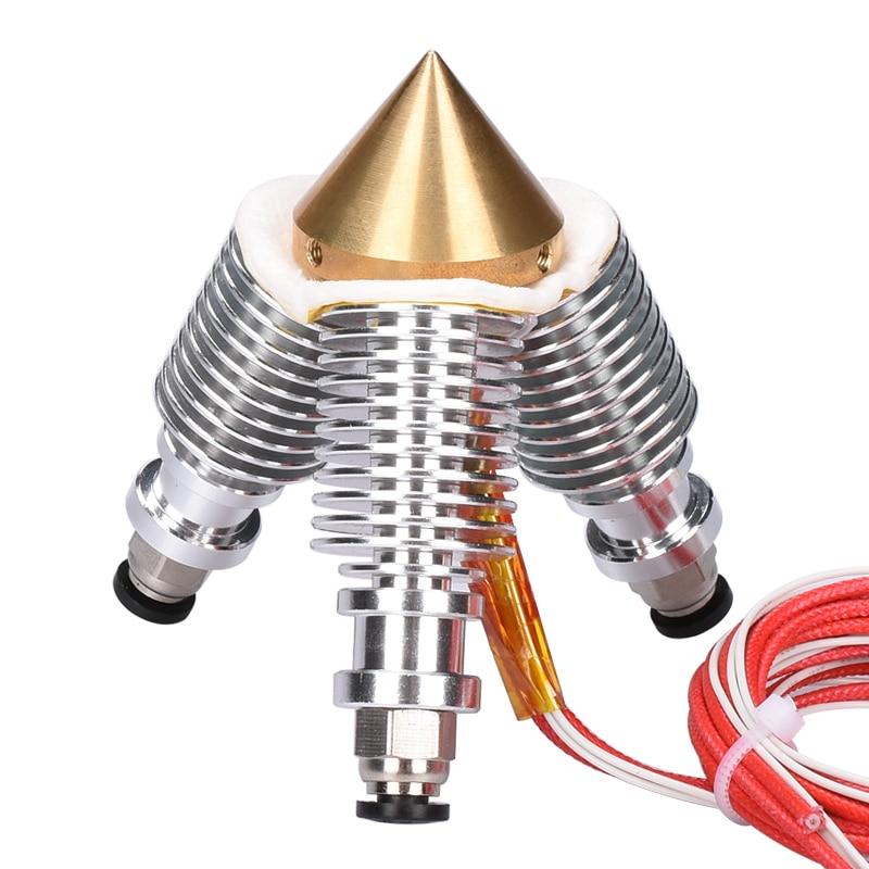 V6 Brass Diamond Nozzle Hotend Extruder Multi Nozzle 3 In 1 Out 0.4MM Nozzle 1.75MM Filament 3D Printer Kit
