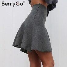 BerryGo, mini faldas de punto drapeadas, Falda corta elegante de Invierno para mujer, Faldas de cintura alta, mujer, 2018