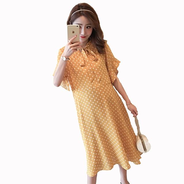 aa37729feb Polka Dot Maternity Dress Cute Pregnancy Clothes 2018 Fashion Dot Cotton Maternity  Clothing Of Pregnant Women Vestidos