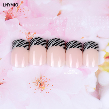 French manicure nails classic black and sliver powder line press on fake plasstic nail tips short square  Маникюр