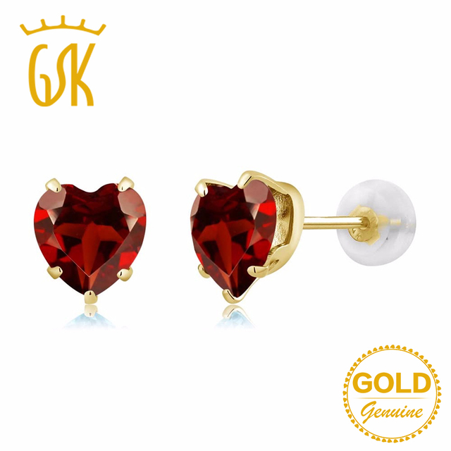 Gold Jewelry GemStoneKing 180Ct Heart Shape 6mm Red Natural Garnet