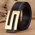 Solid Brass Letter Belt Buckle Genuine Leather Designer Belts Men High Quality Men Belt Ceinture Homme Cinturones Mujer MBT0313