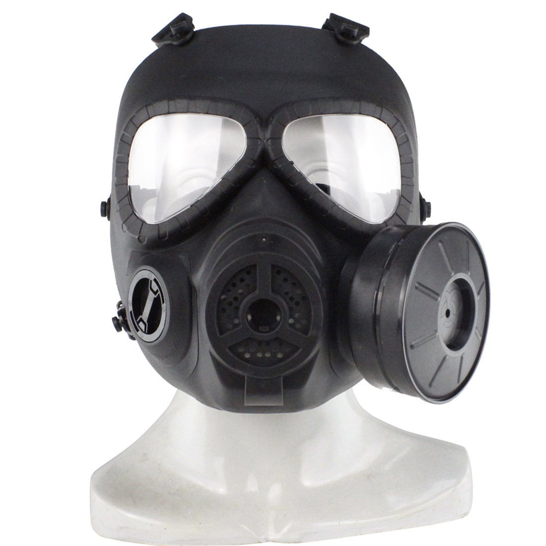 Creative Simulation Tactical Head Mask Full Face Respirator Single Canister Electric Ventilative Biochemical Gas Mask For Nerf/airsoft Outdoor Fun & Sports