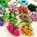 12 unids/lote flor Artificial estambre tallo de alambre/hojas de matrimonio estambre DIY guirnalda boda caja Decoración