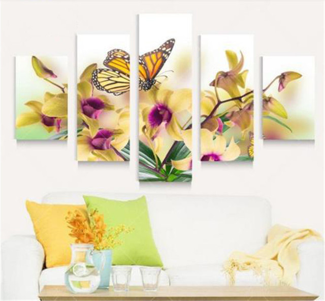 Flower Butterfly 5 Panels Wall Art Canvas Paintings Wall Decorations ...