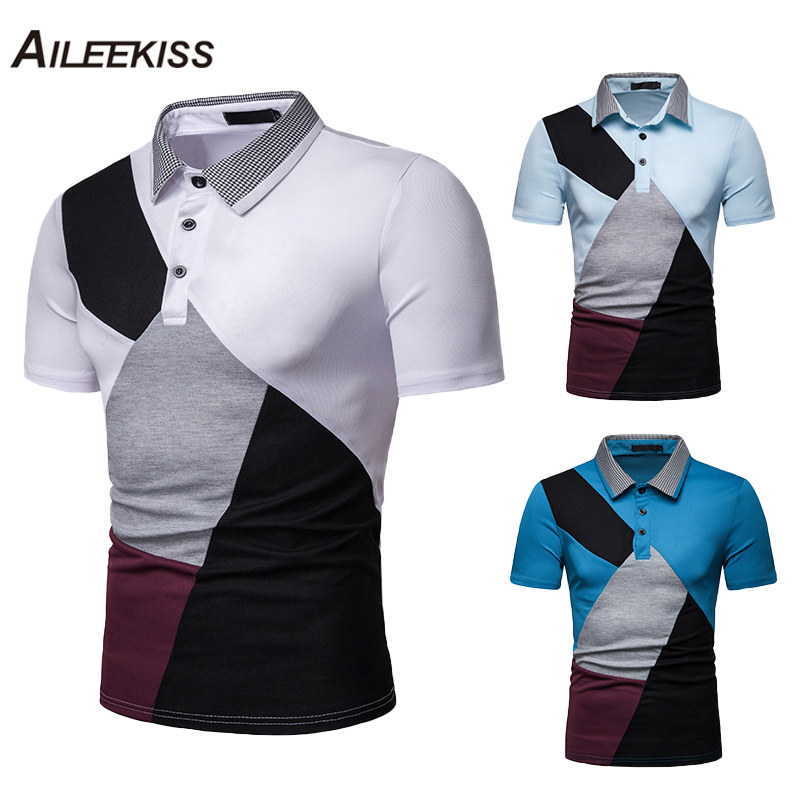 2019 US Size Summer Men's   Polo   Shirts Patchwork Casual Soft Man   Polo   Short Sleeve Male   Polo   Shirt Slim Fit Camisa Clothes XT797