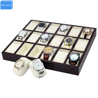 Special For Watch Jewelry Accessories Store Retail Watch Bracelet Display Wooden Lacquer Tray Box 18 Slots