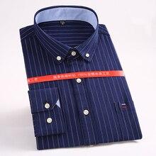 MACROSEA новая оксфордская Мужская Повседневная деловая рубашка с длинным рукавом Свободная прямая полосатая Однотонная рубашка размера плюс 5XL HW