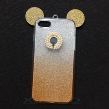 Leinsky Squishy Glitter Minnie Mickey Mouse Ears Soft TPU Case For Apple Iphone 8 6 6s 7 plus X Cover Clear Phone Bags Coque