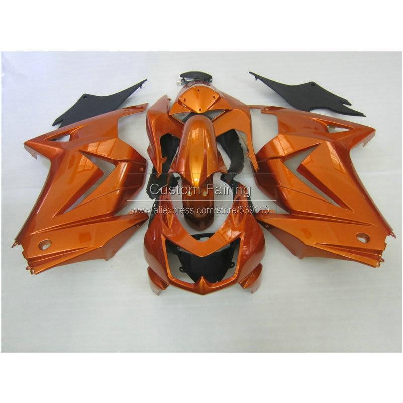 Injection molded Fairing kit for Kawasaki ninja 250r 2008-2014 ABS fairings EX250 08 09 10 11 12 13 14 golden black sets RR16