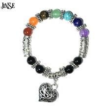 2017 Mens Womens 7 Chakra Bracelets Bangle Colors Mixed Healing Crystals Stone Pray Mala Heart Charm Bracelet Jewelry
