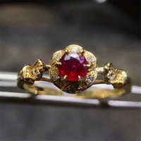 Fabryka hurtownie MEDBOO kamień ręcznie biżuteria 2017 new fashion 18 K yellow gold inlay naturalny czerwony rubin pierścionek z brylantem