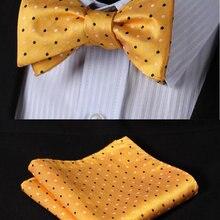 BD1011Y Yellow Polka Dot 100%Silk Jacquard Woven Men Butterfly Self Bow