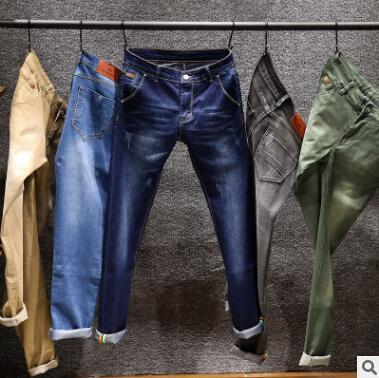 Для мужчин джинсы сезон весна-лето новый стиль простой и стильный Для мужчин стрейч узкие брюки young Для мужчин корейской версии Штаны